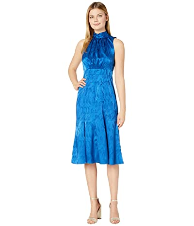 Donna Morgan Sleeveless Jacquard Tie-Halter Midi Dress (Cobalt Multi) Women