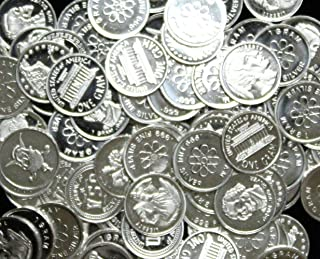 (50) One Gram .999 Pure Silver Rounds with Random Designs in a Jewelry Pouch
