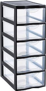 SUNDIS 4288009 Tour de Rangement Format A4 5 tiroirs avec Poignée ergonomique Système d'Arrêt à l'Ouverture, Plastique, Noir