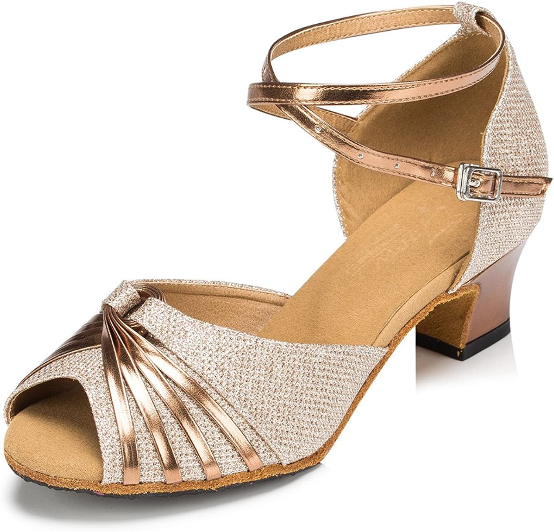 Misu Women's Peep Toe Sandals Latin Salsa Tango Practice Ballroom Dance shoes with 2.0  Heel gold