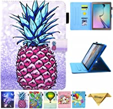 JZCreater Galaxy Tab E 9.6 Case, SM-T560 Case, PU Leather Folio Stand Case, Multi-Angle Viewing Wallet Case Cover for SM-T560/T561/T565, Purple Pineapple