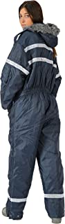 HAGOR Unisex Navy Blue Snowsuit Winter Clothing Snow Ski Suit Coverall Insulated Suit with Reflector