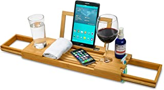 ZAFUU Bamboo Bathtub Caddy Tray with Extending Slides - 100% Natural Wood Bath Tray with Book or Tablet Holder and Wine Glass Slot – Home Spa Bathroom Organizer.