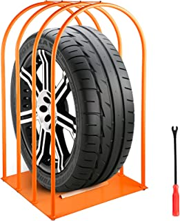 VEVOR Tire Inflation Cage 4-Bar Tire Cage, Heavy-duty Car Tire Inflation Tool Rugged Steel Frame, Portable Tire Cage with A Tire Changer, Orange