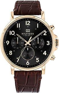 Tommy Hilfiger Daniel Men's Black Dial Leather Band Watch - 1710379