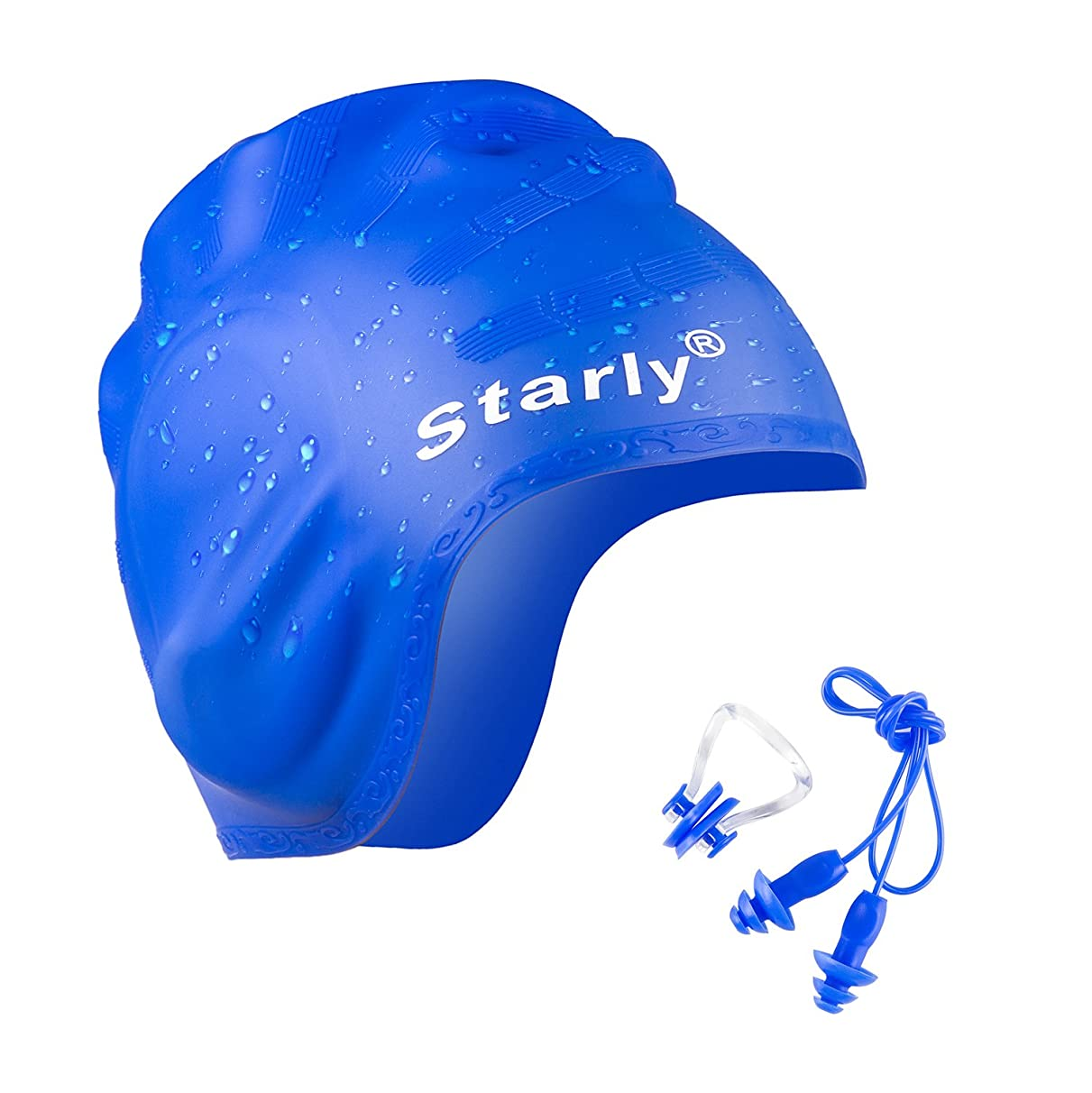 Silicon Swimming Cap,Ear Plugs and Nose Clip Set, for Teenagers, Adult and Long Hair Women,with 3D Ergonomic Design Ear Pockets and Fashion Strip Design,Blue/Black/Pink Color Swimming Hats,Starly Brand