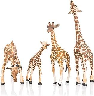 TOYMANY 4PCS Realistic Giraffe Figurines with Giraffe Cub, 2-7