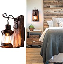 Industrial Vintage Wall Lamp Retro Wooden Metal Bedside Wall Lighting Fixture for Home, Hotel, Bar, Porch, Bedroom, Farmhouse, Corridor Decorate Wall Light