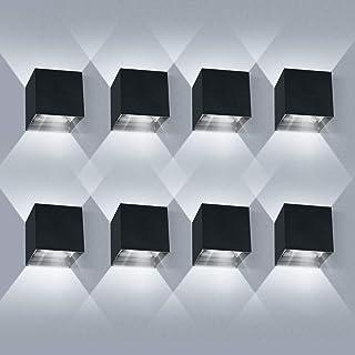 8 * 12W LED lamparas de pared Interior/Exterior LED Aplique de pared arriba y hacia abajo Haz ajustable 6000K Blanco frío LED Aplique de pared exterior IP65 impermeable