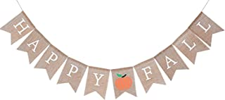 WAOUH Happy Fall Pumpkin Burlap Banner - Autumn Garland for Rustic Photo Prop, Home Decoration for Halloween - Thanksgiving Sign, Family Party Decoration Preferred (Happy Fall)