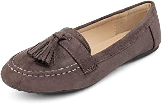 tresmode Womens Grey Suede Leather Tassel Loafers Footwear