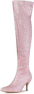 Allegra K Women`s Glitter Pointed Toe Stiletto Heel Over The Knee High Boots