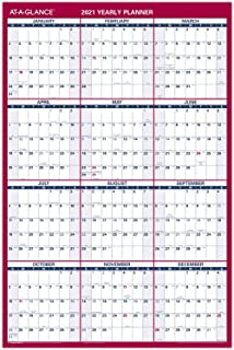 """2021 Erasable Calendar, Dry Erase Wall Planner by AT-A-GLANCE, 36"""" x 24"""", Large, Vertical/Horizontal, Reversible (PM262821)"""