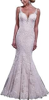 Women's Mermaid V-Neck Lace Appliques Backless Trailing Wedding Dress