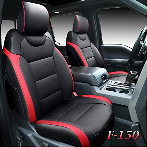 2021 Tecoom Front and Back outlet sale Seat Covers 5 Pieces, Waterproof Leather Truck Seat Protectors Custom Fit Full Set, Compatible with Ford F-150 popular 2015-2020 & F-250 F-350 F-450 2017-2020 (Raptor Style, Red) outlet online sale
