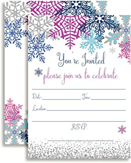 Winter Snowflake Birthday Party Invitations, Set of 20 5