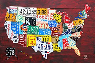 Laminated License Plate Map of The United States Poster 36 x 24in