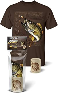 Follow the Action Walleye Hunter Fishing T-Shirt and Koozie Combo Gift Set