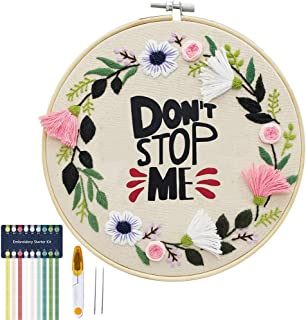 Don't Stop Me - Embroidery Kit for Beginners, Cooliya Embroidery Starter Kit Craft Kit Cross Stitch Kit - Birthday Gifts f...