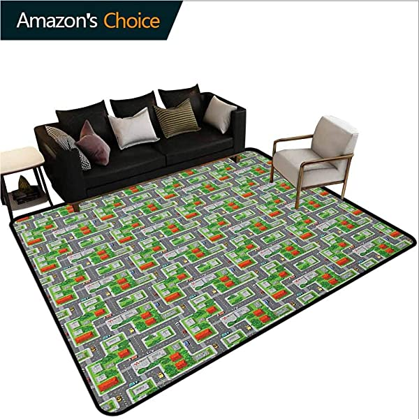 Kids Car Race Track Roadway Activity Shag Area Rug Door Mat Suburb View With Houses Gardens And Trees Cartoon Durable Carpet Area Rug Living Dinning Room Bedroom Rugs And Carpets 2 5 X 9