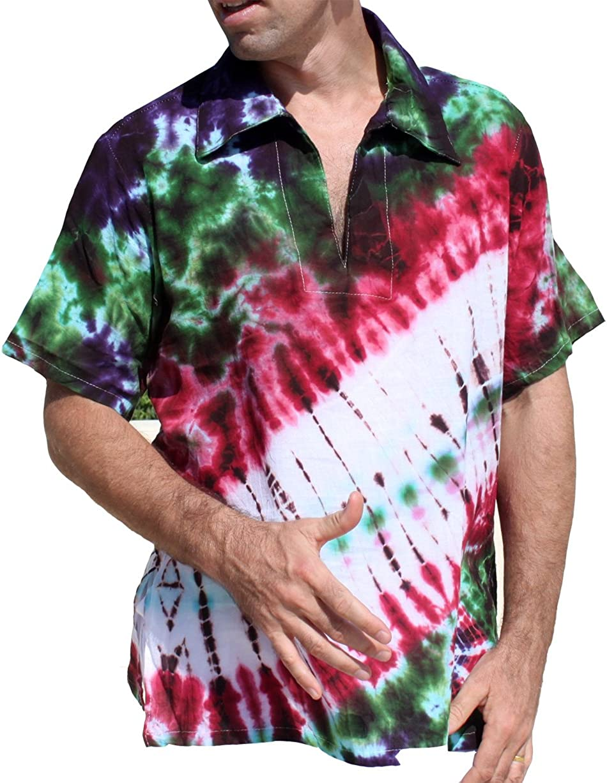 RaanPahMuang Fashionable Light Gauze Cotton Manufacturer regenerated product Tie Sleeve Shirt Dye Poets Short