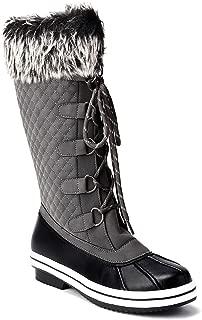 Trary Women's Waterproof Faux Fur Lined Zipper Winter Snow Boots