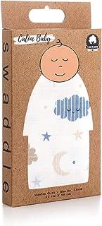 Caline Baby Müslin Bezi Örtü Bulut Desen - Mavi - 75x90 cm [2 Adet Ağız Mendili HEDİYE!!]