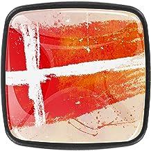 Traditionele Vierkante Kabinet Knop, Platte Zwart, Glas Oppervlak, 4-Pack Geschilderde Deense Vlag Achtergrond