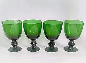 Antigo Cj 4 Tacas Em Cristal Frances Verde 1199 Rrdeco Cor:Verde (Verde)