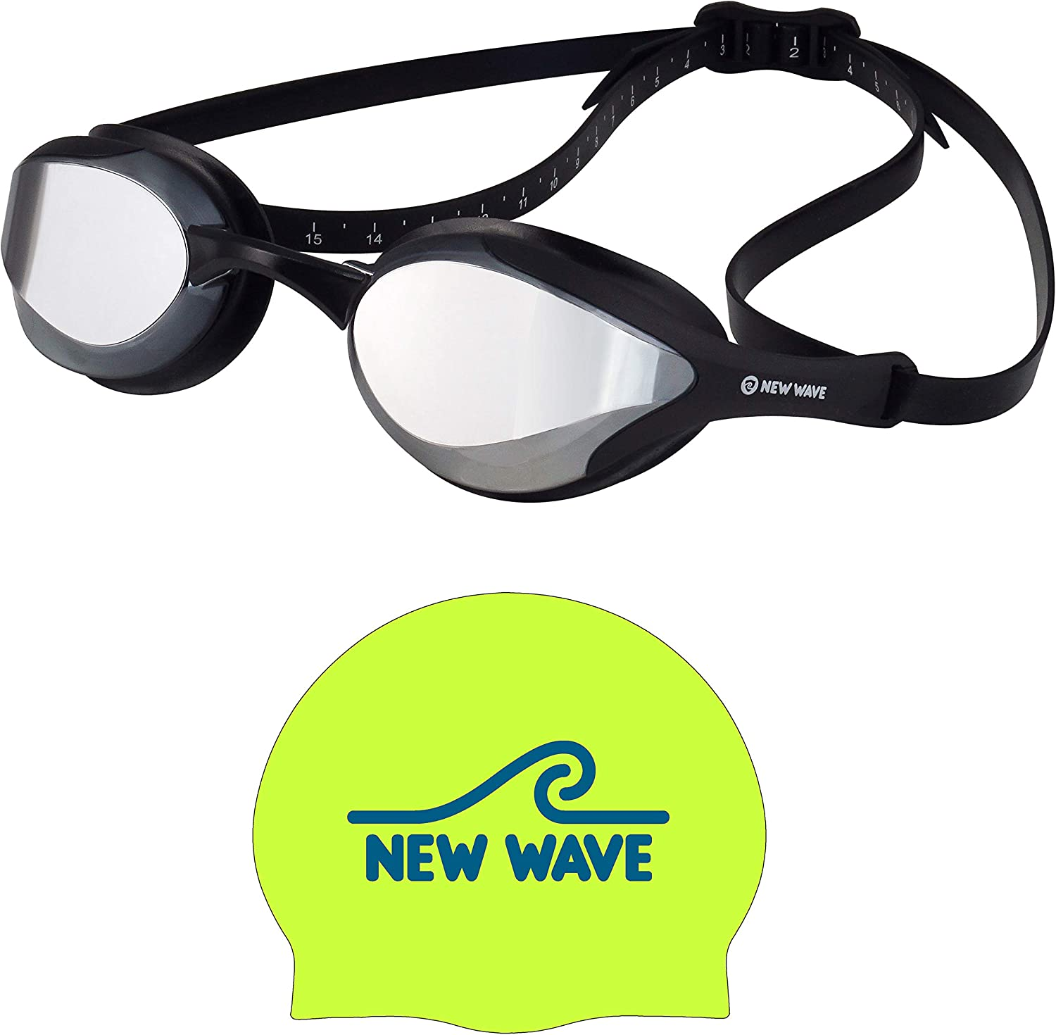 New Wave Fusion Swim Goggles Silver Green Outlet ☆ Free Shipping and Rush Bund Fluo Under blast sales Cap