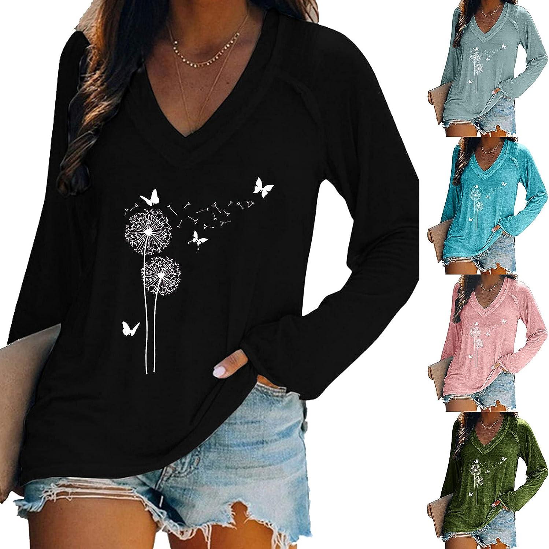 HUIYEA Oversized Womens V Neck Causal Long Sleeve Tunic Tops Fashion Print Knit Tshirts Loose Shirts Soft Blouse Sweatshirts
