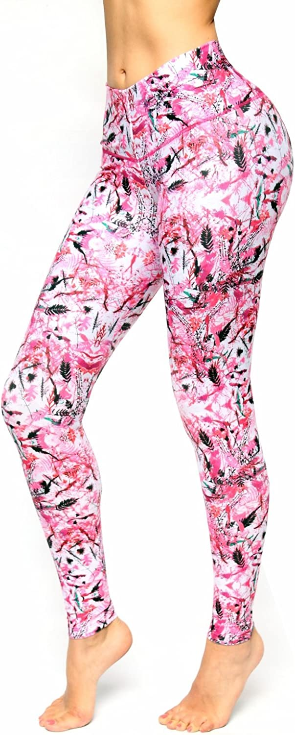 Bon Bon Up Girls Pink Pattern Printed Leggings with Slim and Tone Control