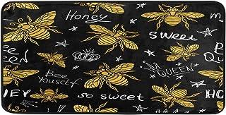 AUUXVA YOZON Kitchen Mat Rug Golden Honey Bee Queen Crown Non Slip Doormat Indoor Outdoor Entrance Welcome Door Floor Mats...