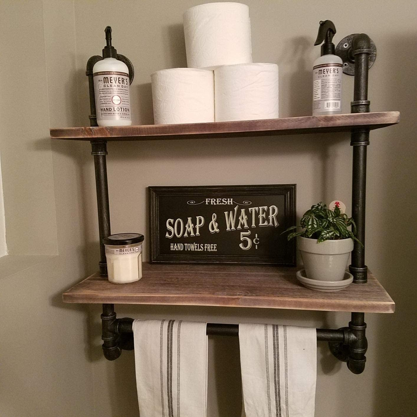 FODUE Industrial Ranking integrated 1st place Pipe Shelf Rustic Towel with 24