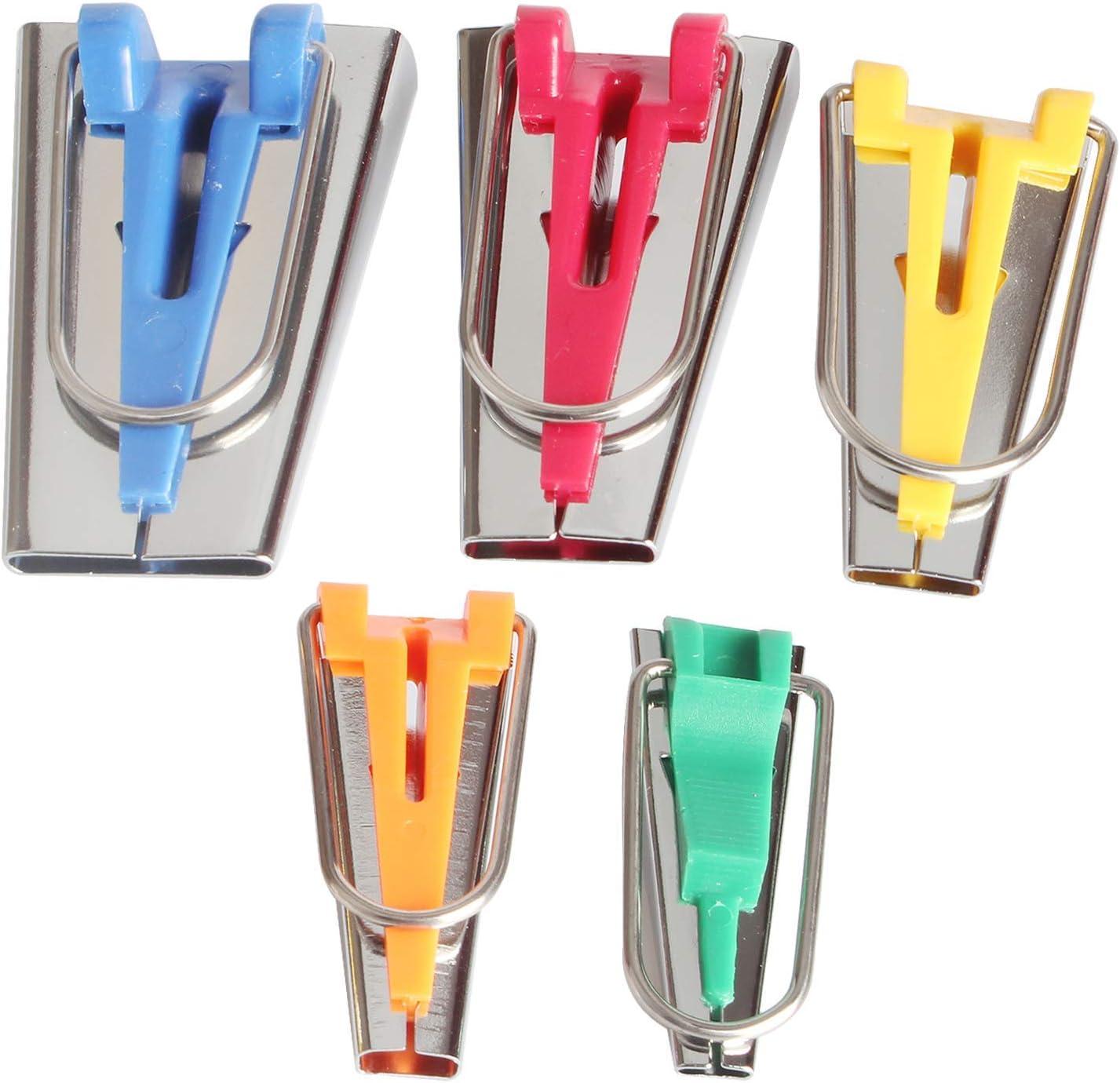 Zeaye Bias Binding Maker Set de 5 tamaños (6 mm / 9 mm / 12 mm / 18 mm / 25 mm) para coser y acolchar cinta al bies, para hacer cinta al bies de tela, accesorios para de coser para bricolaje patchwork