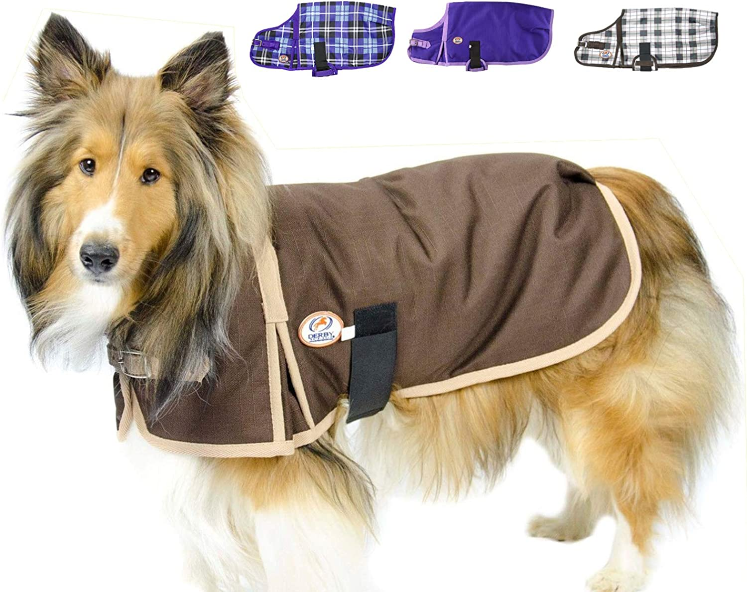 Derby Originals 1200D Heavy Duty Waterproof Dog Coat with 2 year limited warranty, Chocolate, XLarge
