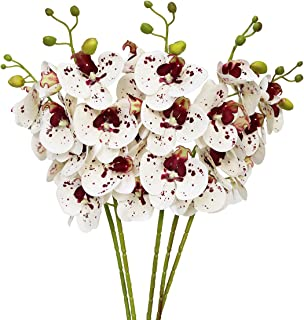 Htmeing 5 Pcs Artificial Butterfly Orchid Flower Fake Flowers Plant Home Wedding Decoration (Red Point)