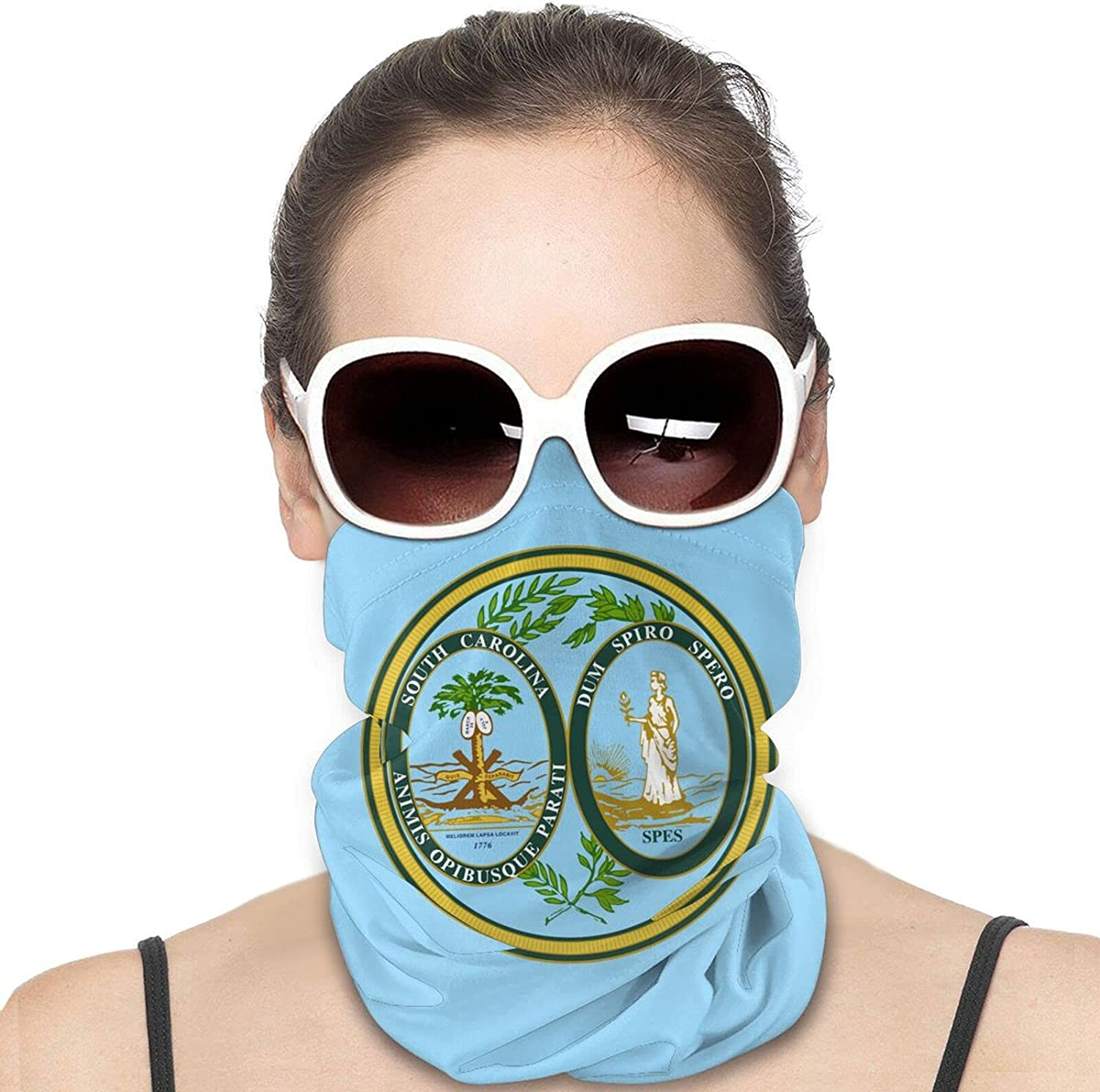 Seal of the State of South Carolina Round Neck Gaiter Bandnas Face Cover Uv Protection Prevent bask in Ice Scarf Headbands Perfect for Motorcycle Cycling Running Festival Raves Outdoors