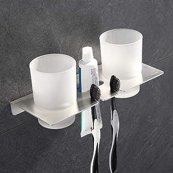 ubeegol Doppel Zahnputzbecherhalter Zahnputzbecher Halter Bad Zahnbecherhalter Glas Zahnbürstenhalter Bohren für Wandmontage, aus Edelstahl Gebürstet