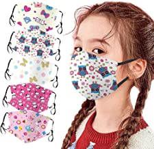 5Pcs Childrens Face_Mask Cute Cartoon Reusable Facemasks Washable Breathable Adjustable Cotton Face Covering For Kids