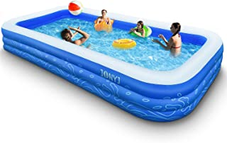 HAZUUNN Inflatable Swimming Pool Blow Up Pool for Family Kids Backyard Foldable 61inches Blue