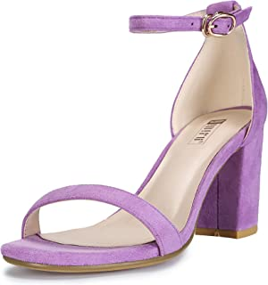 Women's IN3 Cookie-MI Open Toe Mid Heel Chunky Block Ankle Strap Dress Sandals