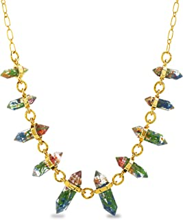 Steve Madden Yellow Gold Plated Multi Color Encapsulated Flower Resin Link Cable Chain Necklace for Women