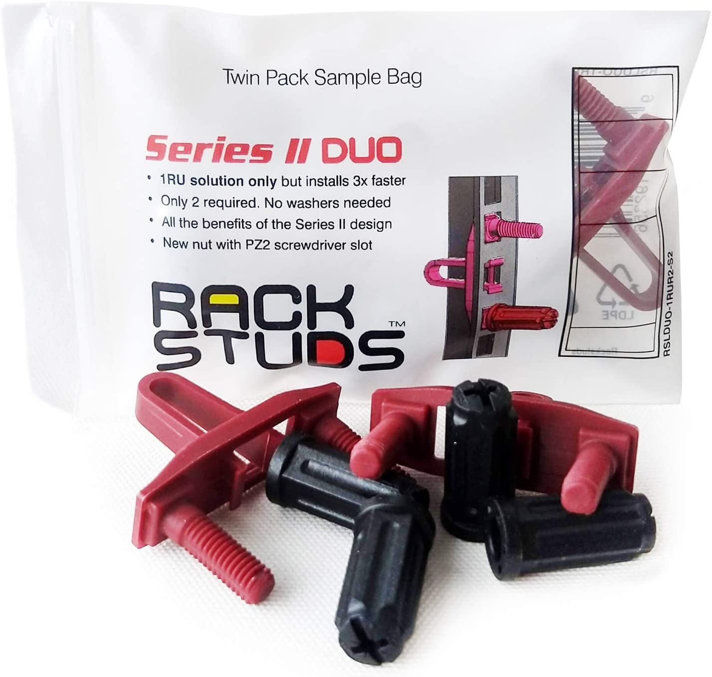 Rackstuds DUO2 1RU Rack Mount Solution Series II No More Cage Nuts Universal Version The Easiest and Safest Server Rack Solution in 19 Racks with Square Punched Vertical Rails 2-Pack Sample