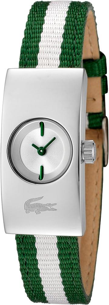 Lacoste,orologio analogico al  quarzo per donna, con cinturino in nylon  e cassa in acciaio LACOSTE-2000317