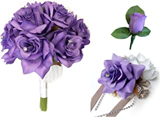 Angel Isabella 3pc Set-Keepsake Beautiful Rose Bouquet,Wrist Corsage,and Boutonniere(Iris Lavender)