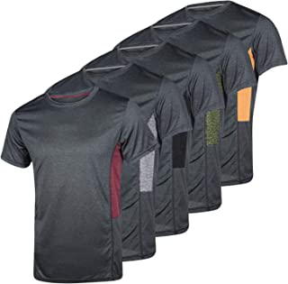 5 Pack: Men�s Dry-Fit Moisture Wicking Active Athletic Performance Crew T-Shirt