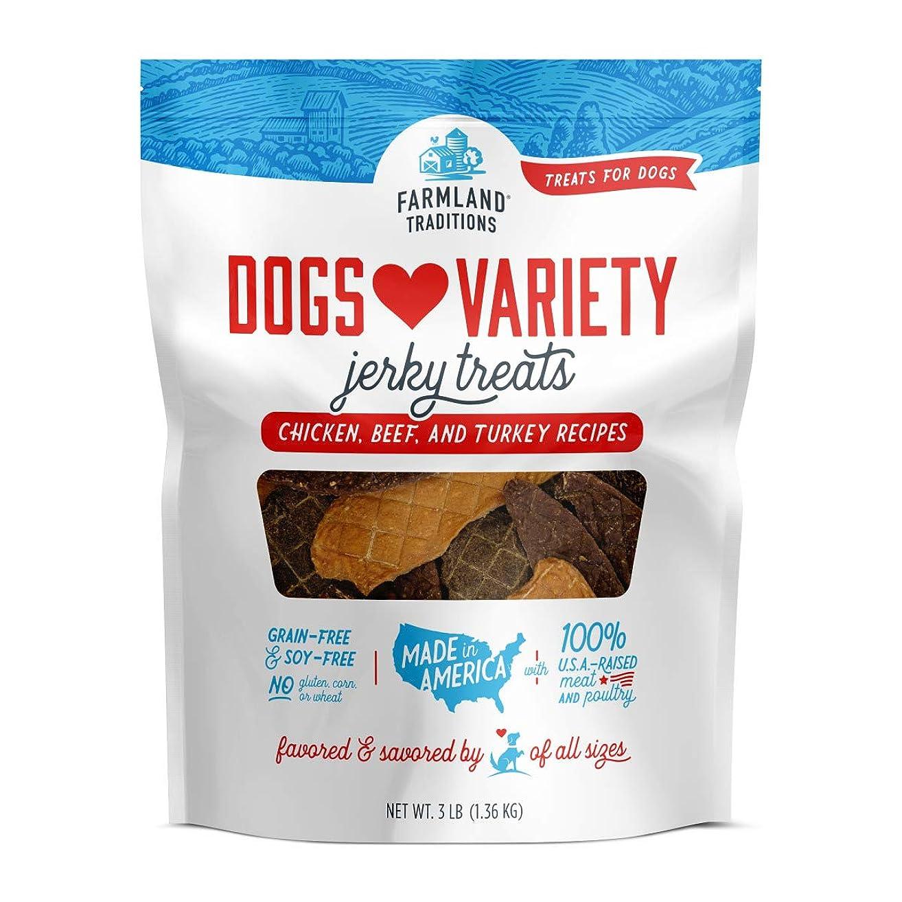 Farmland Traditions USA Made 3 lbs. Dogs Loves Variety Jerky Treats