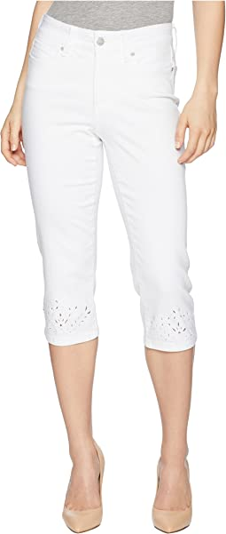Petite Marilyn Crop Eyelet Embroidery Hem in Optic White