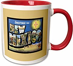3dRose 170357_5 Greetings From New Mexico Scenic Postcard Reproduction Two Tone Mug, 11 oz, Red